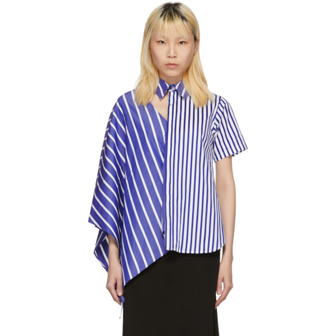 Facetasm Blue & White Striped Asymmetric Shirt
