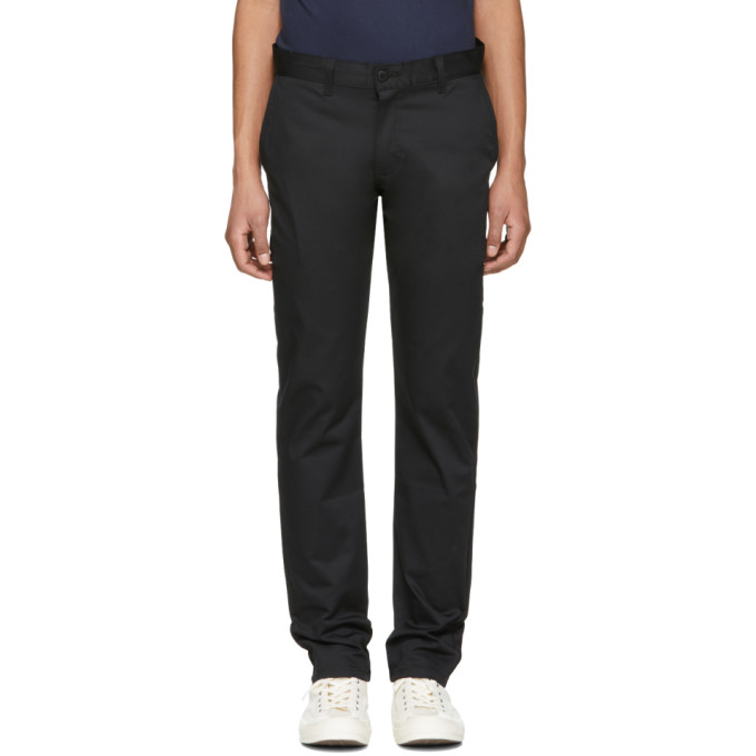 Image of Naked & Famous Denim Black Slim Chino Trousers