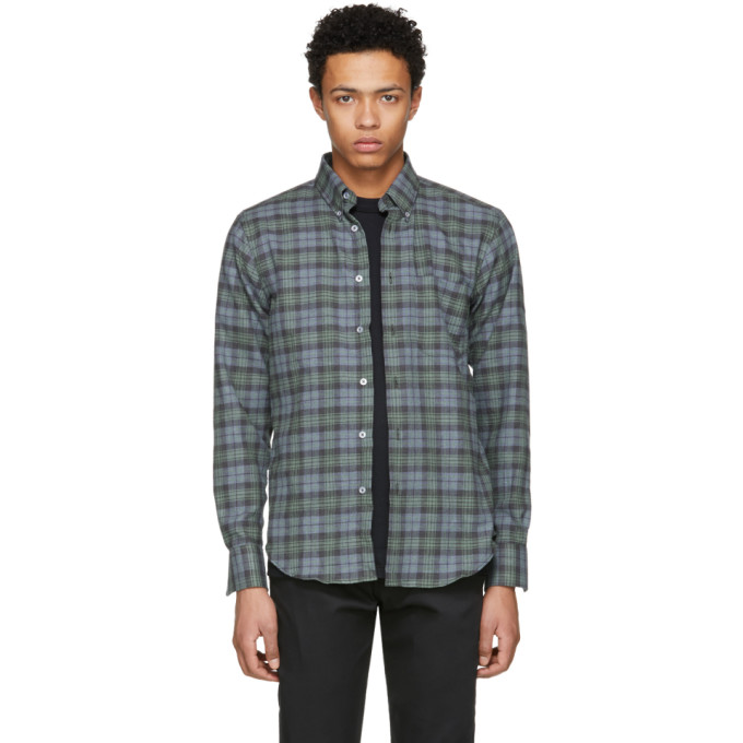 Image of Naked & Famous Denim Green Plaid Shirt