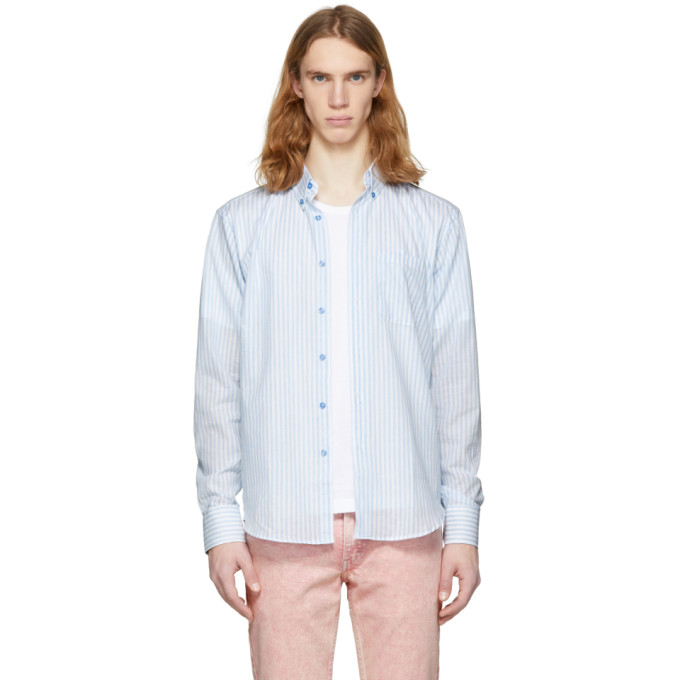 Image of Naked & Famous Denim White & Blue Summertime Stripe Shirt