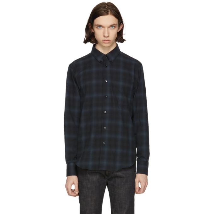 Image of Naked & Famous Denim Black & Grey Shadow Plaid Shirt