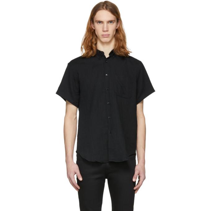 Image of Naked & Famous Denim Black Short Sleeve Gauze Shirt