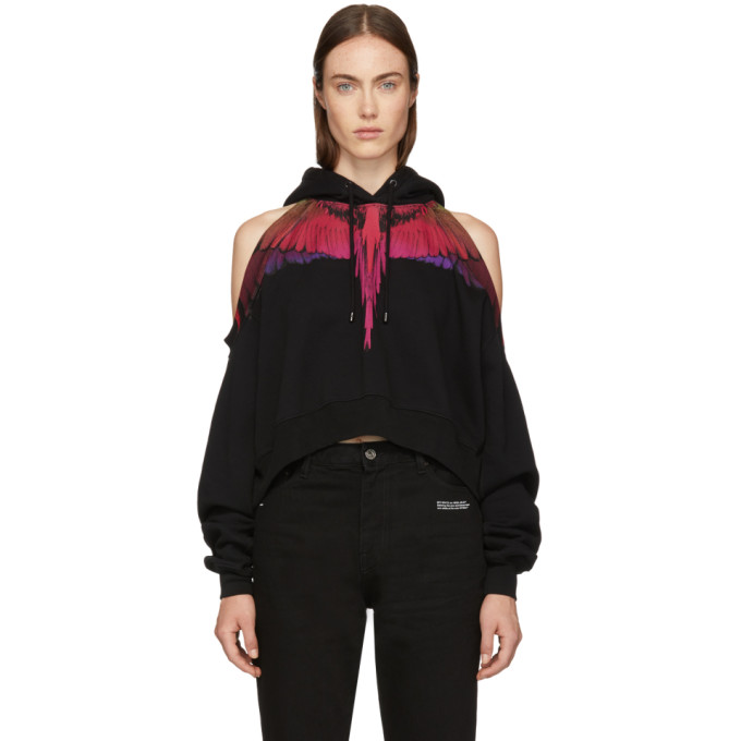 Black Cropped Color Wings Hoodie in 1088 Black