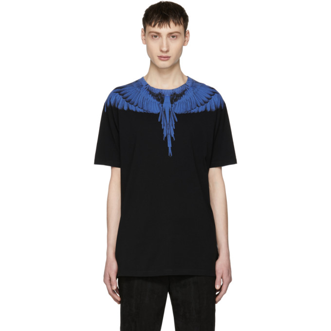 Image of Marcelo Burlon County of Milan Black & Blue Double Wing T-Shirt