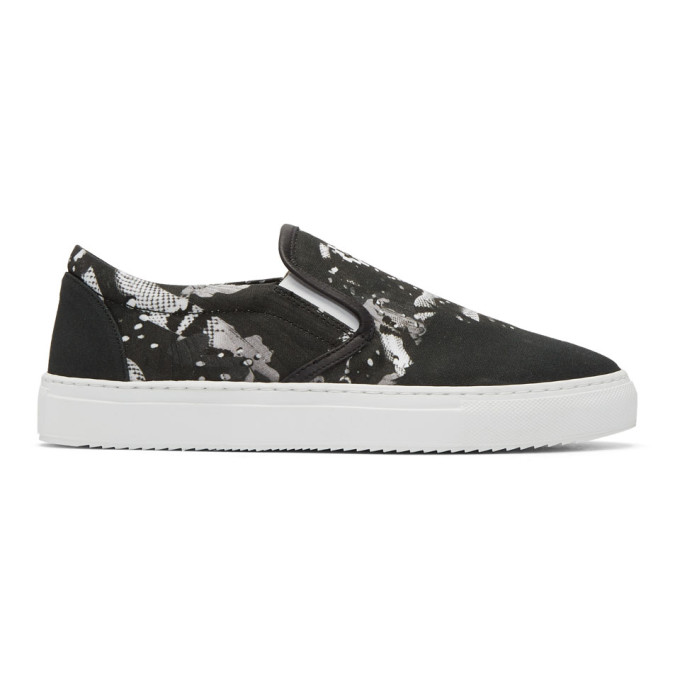 Image of Marcelo Burlon County of Milan Black Camou Wing Slip-On Sneakers