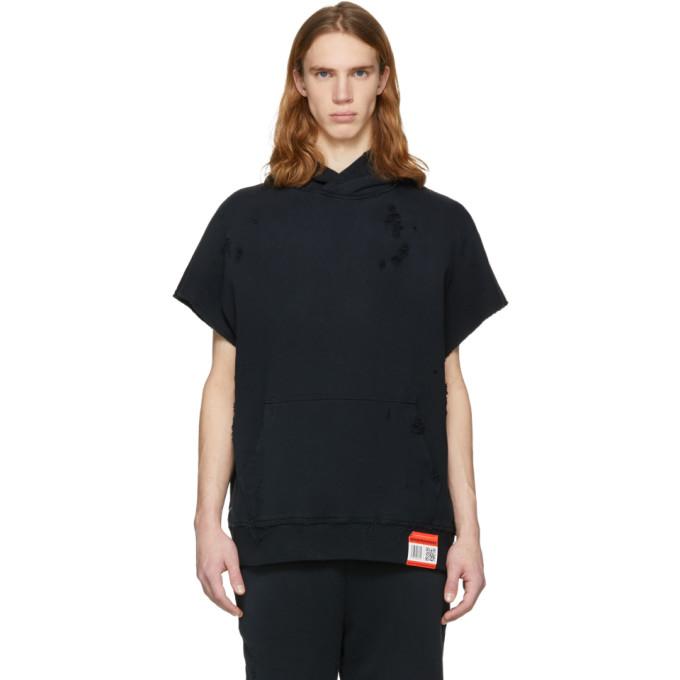 Image of Miharayasuhiro Black Damaged Hooded Vest