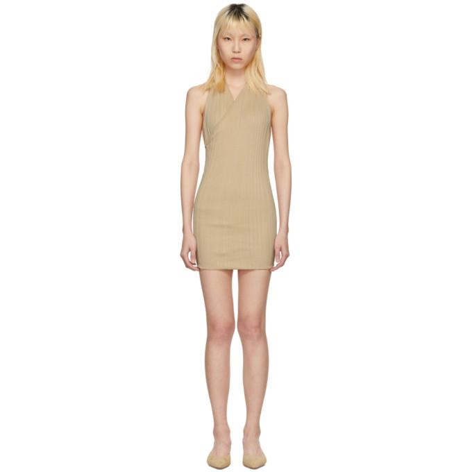 Image of Jacquemus Beige 'La Maille Drapeado Longue' Dress