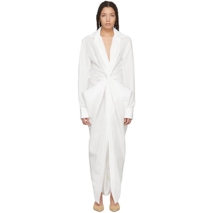 Jacquemus White La Robe Bolso Longue Dress