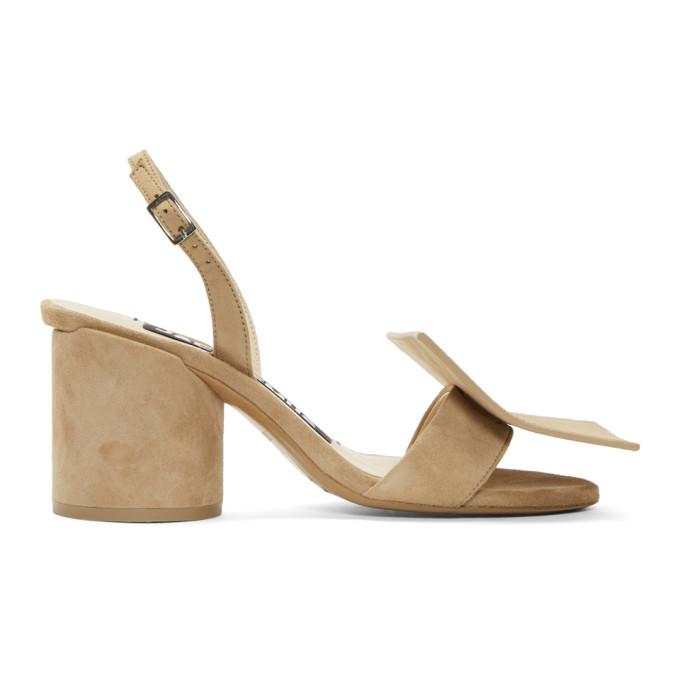 Image of Jacquemus Beige Suede 'Les Rond Carré' Sandals