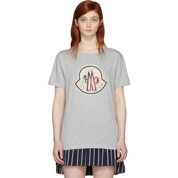 Image of Moncler Gamme Rouge Grey Lace Logo T-Shirt
