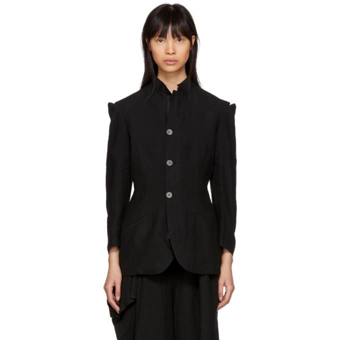 Image of Yohji Yamamoto Black Linen Cut-Out Shoulders Jacket