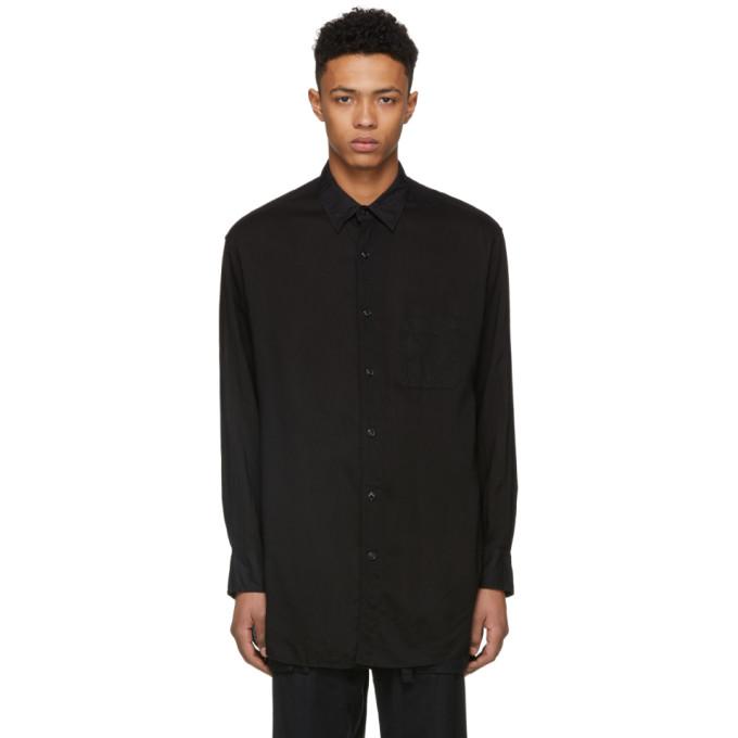 Image of Yohji Yamamoto Black Tencel Panel Shirt