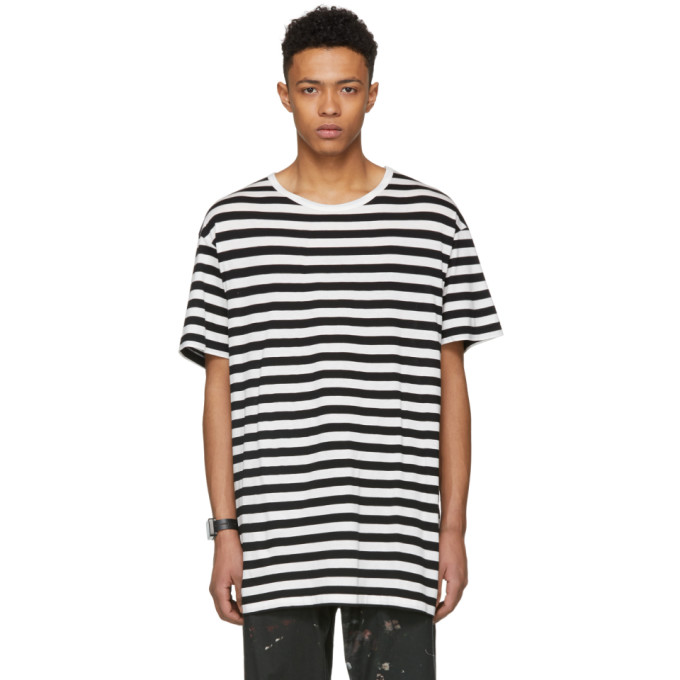 Image of Yohji Yamamoto White & Black Striped Staff T-Shirt