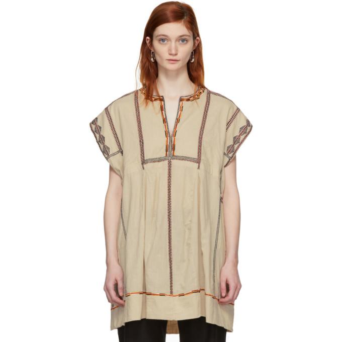Isabel Marant Etoile Beige Embroidered Belissa Dress