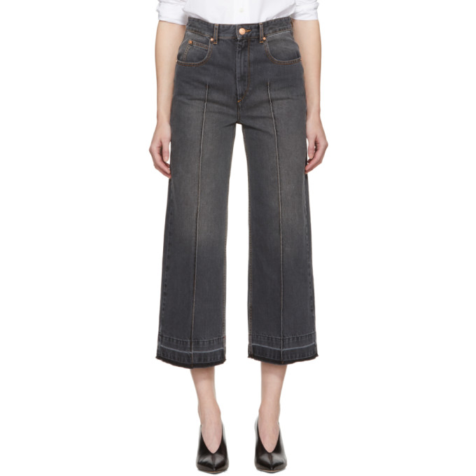 Isabel Marant Etoile Grey Cabrio Wide-Leg Jeans