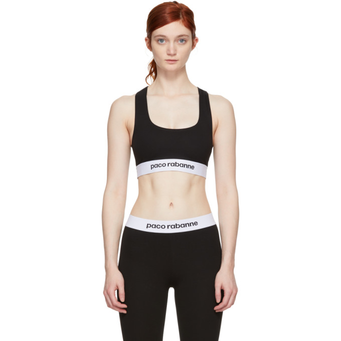 Image of Paco Rabanne Black Elasticized Logo Sports Bra