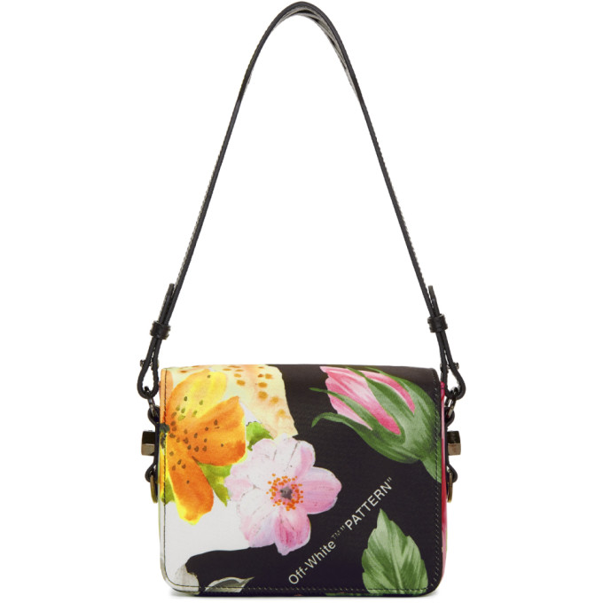 Off-White Black Floral Binder Clip Bag