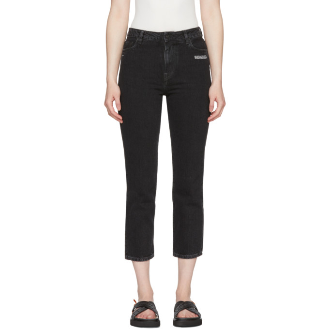 Off White Black Crop Belt Tight Jeans