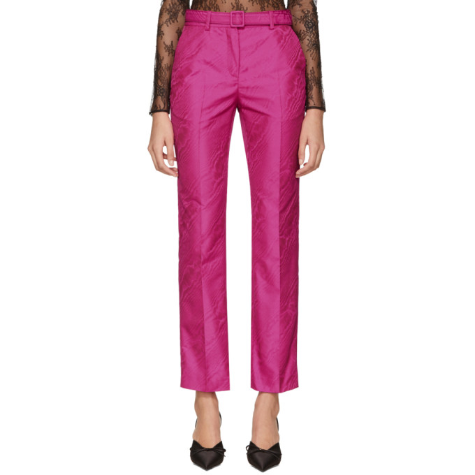 Off White Pink Moire Cigarette Trousers