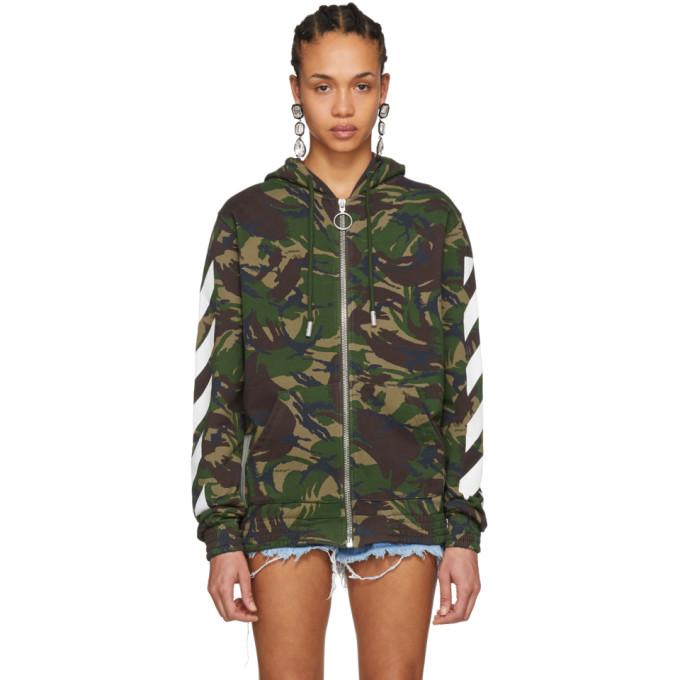 Off-White Multicolor Camouflage Diagonal Zip Hoodie