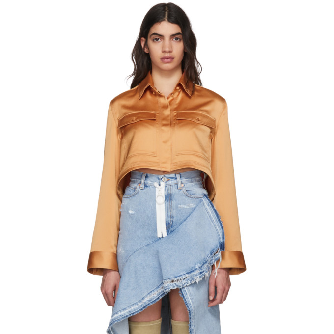 Off White Beige Pajama Cropped Shirt