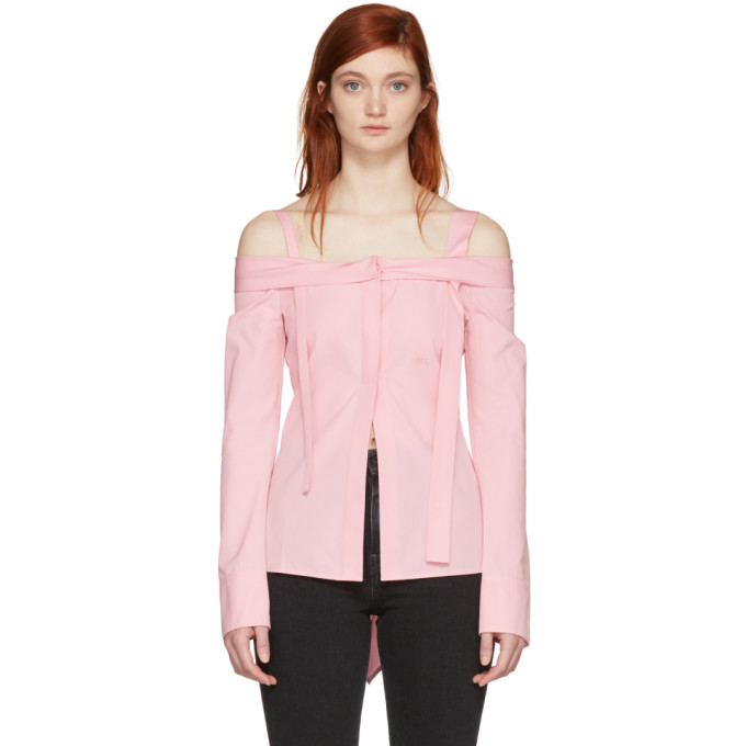 Off White Pink 'off' Off The Shoulder Shirt
