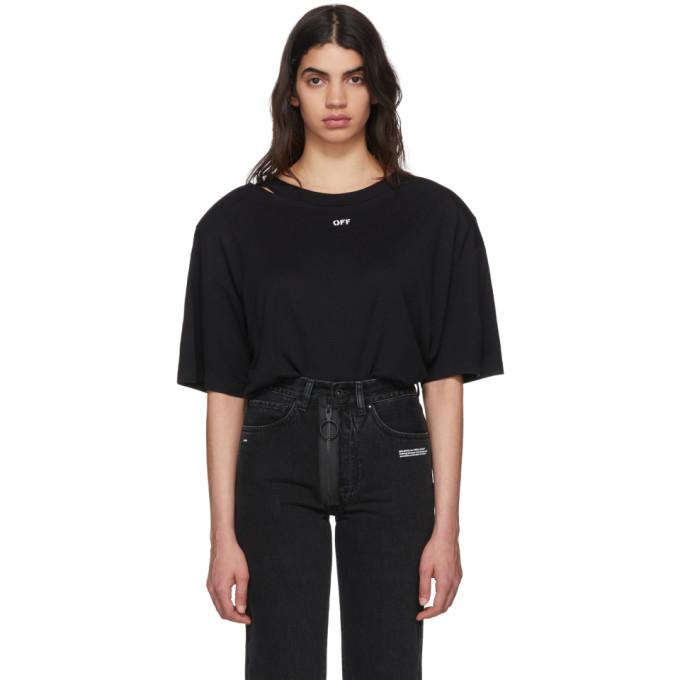 Off-White Black Off Shoulder Pad T-Shirt