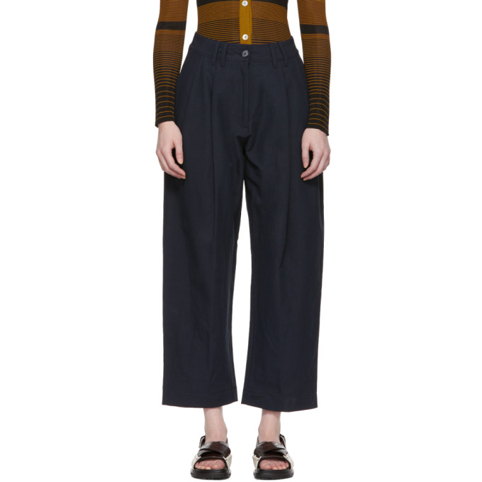 Studio Nicholson Navy Bag Double Pleat Tapered Trousers