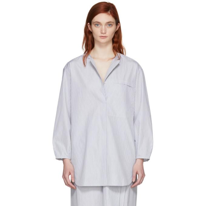 Image of Studio Nicholson Black & White Oversized Double-Split Shirt