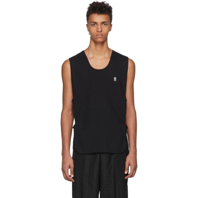11 by boris bidjan saberi male 11 by boris bidjan saberi black sleeveless front logo tshirt