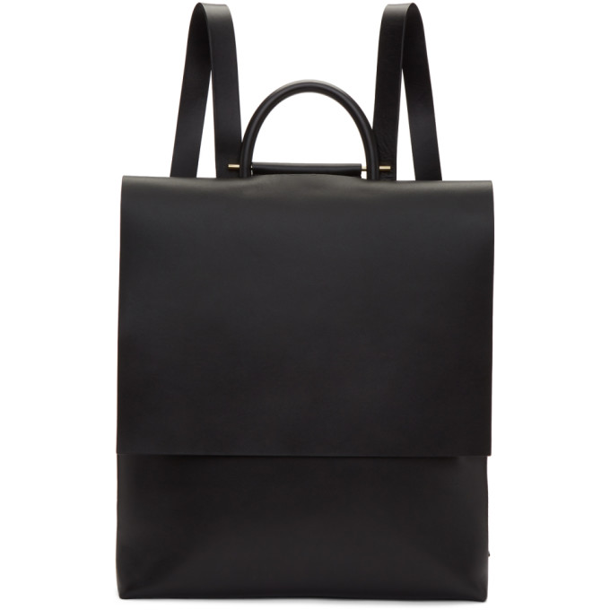 Image of Building Block Black Leather Flat Rucksack