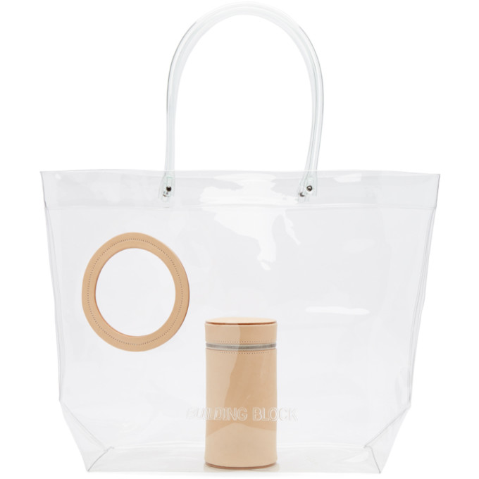 Image of Building Block Beige Transparent Vinyl Peephole Tote