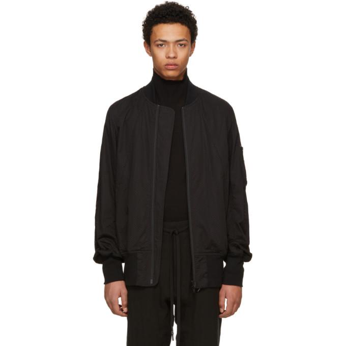 Image of Nude:mm Black Cotton & Linen Bomber Jacket