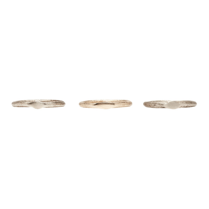 Pearls Before Swine SSENSE Exclusive Silver & Gold Set of Three 'Sliced' Band Rings
