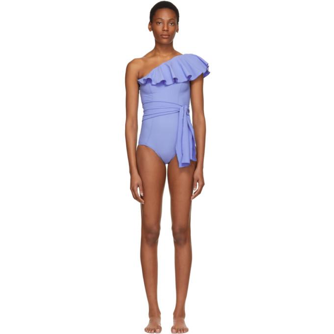 8b32467215 Lisa Marie Fernandez Blue Arden Flounce Swimsuit