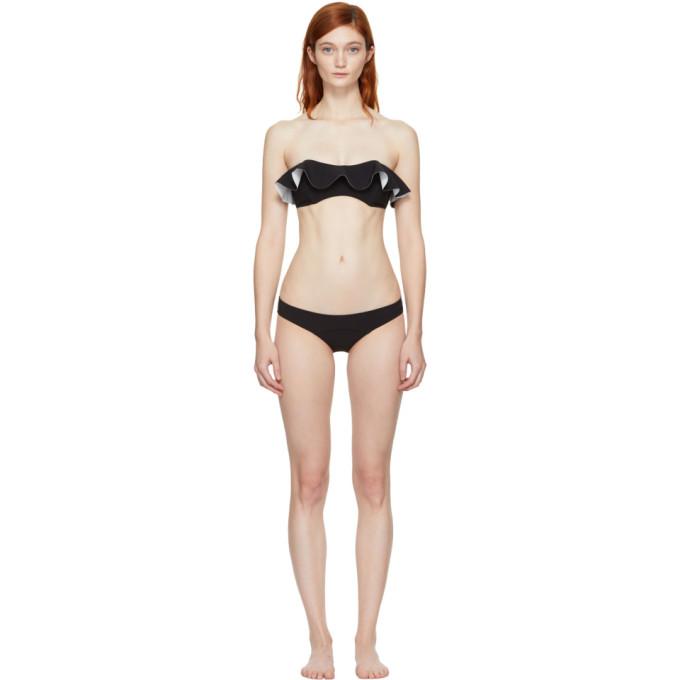 Image of Lisa Marie Fernandez Black Natalie Flounce Bikini