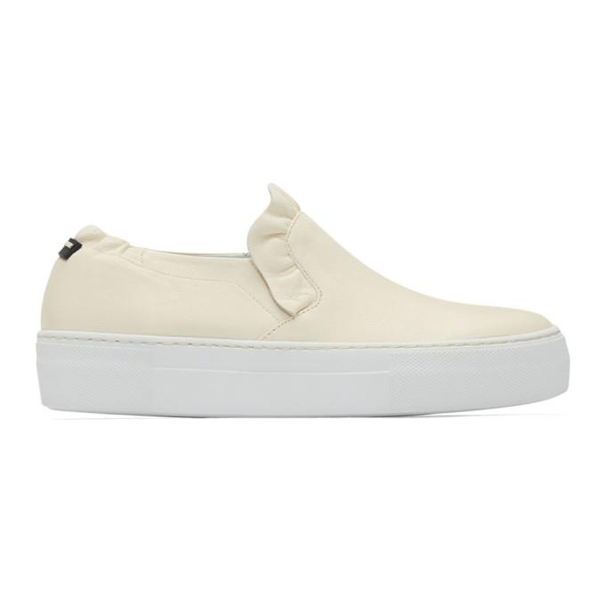 Image of Jil Sander Navy Beige Ruffle Slip-On Sneakers