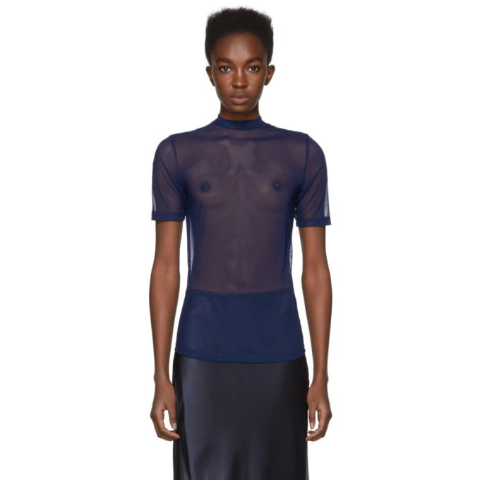 Image of Nomia Navy Mesh Mock Neck T-Shirt