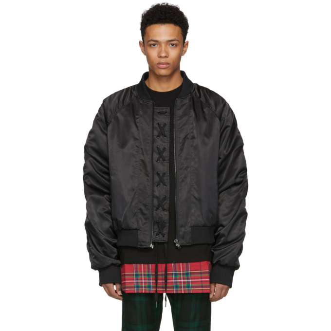 Image of D by D Black Placket String Bomber Jacket