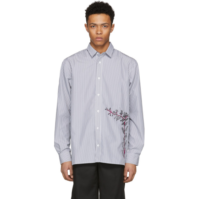 Image of D by D Black & White Striped Embroidered Shirt