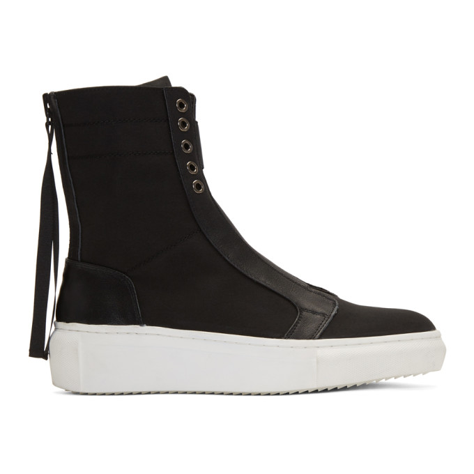 Image of D by D Black Back Zip High-Top Sneakers