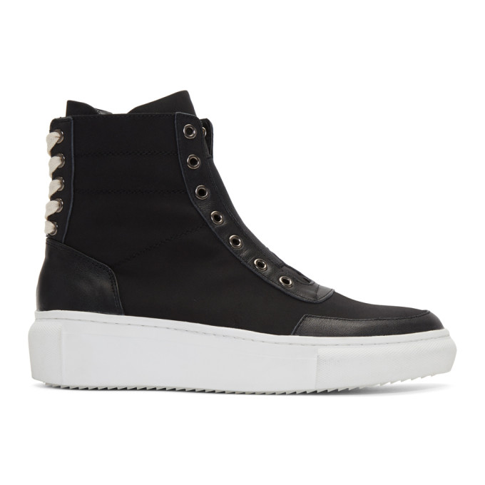 Image of D by D Black Back String Mid-Top Sneakers