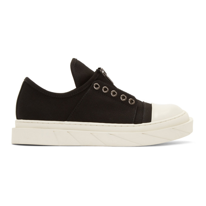 Image of D by D Black Front Zip Slip-On Sneakers