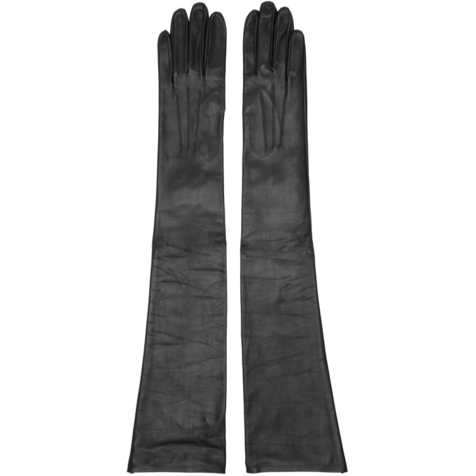 Image of Erdem Black Leather Midi Gloves