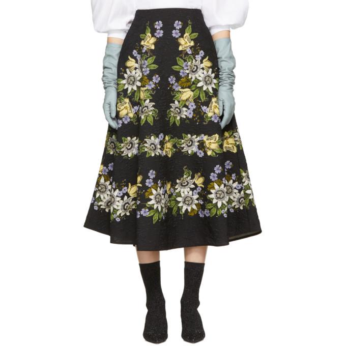 Image of Erdem Black Floral Matelassé Tiana Skirt