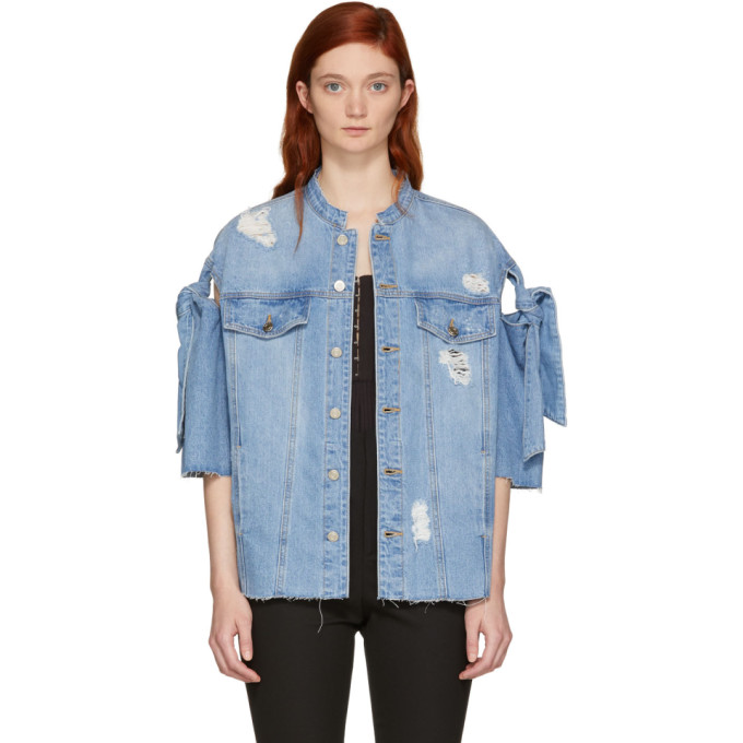 Image of SJYP Blue Denim Ribbon Tie Jacket