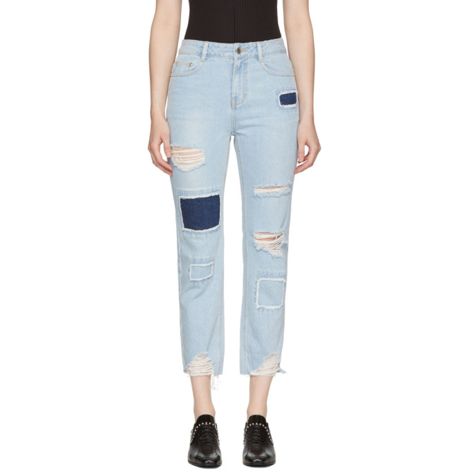 SJYP Blue Patched Cut-Off Jeans