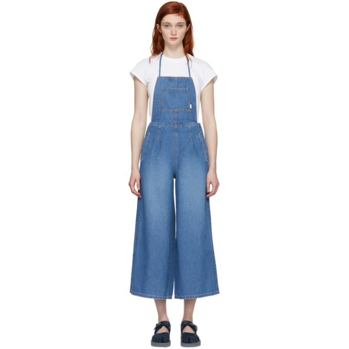 SJYP Blue Denim Wide-Leg Overalls