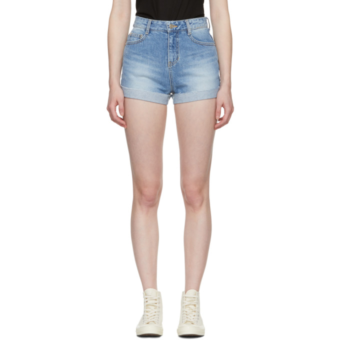SJYP Blue Denim Roll-Up Shorts