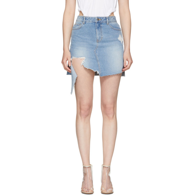 Image of SJYP Blue Denim Cut-Off Miniskirt